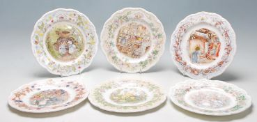 A group of six Royal Doulton Brambly Hedge limited edition plates to include the Four Seasons plates