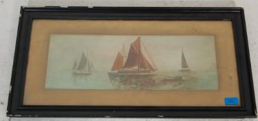 An early 20th Century water colour on paper painting depicting sailing ships with coloured sails