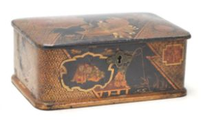 A late 19th / early 20th Century Japanese Meji period lacquered box having a black ground with