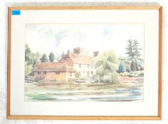 A mid 20th century watercolour painting depicting a cottage next to a lake with trees and boat.
