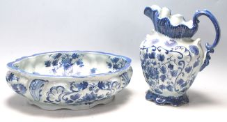 A 20th Century Victorian ironstone ceramic blue and white jug and bowl / pot having floral sprays