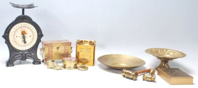 A collection of 20th Century brass ware to include a set of vintage weighing scales, brass