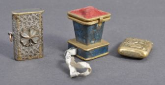 A good collection of early 20th century items to include a Japanese brass matchbox with hinged top