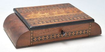 An Edwardian early 20th Century inlaid jewellery box with a hinged lid opening to reveal a cushioned