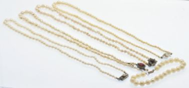 A Collection Cultured Pearl Necklaces & Bracelet