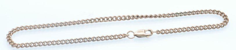 A Hallmarked 9ct Rose Gold Chain Bracelet.