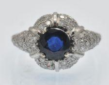A sapphire & Diamond Cluster Ring