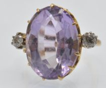 A French 18ct Gold Amethyst & Diamond Ring