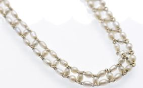 An 18ct Gold & Seed Pearl Choker Necklace