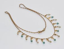 A 9ct Gold Pearl & Turquoise Fringe Necklace