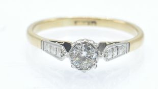 A Vintage 18ct Gold & Platinum Solitaire Diamond Ring