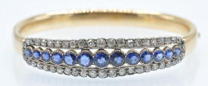 A Victorian Gold Sapphire & Diamond Bangle