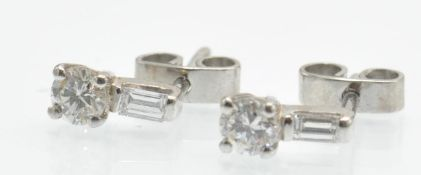 A Pair of 18ct White Gold & Diamond Stud Earrings