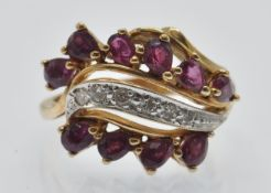 A Hallmarked 14ct Gold Ruby & Diamond Crossover Ring