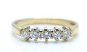 A Hallmarked 9ct Gold 5 Stone Diamond Ring