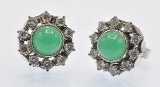 A Pair of 14ct White Gold Diamond & Chrysoprase Earrings