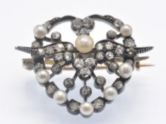 An Antique Cased Diamond & Pearl Brooch Pin