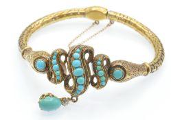 A Victorian 15ct Gold turquoise & Diamond Locket Bracelet.