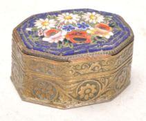 An Antique Italian micro mosaic brass pill box wit