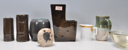 A mixed group of Studio Art pottery ceramics with