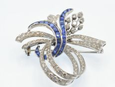 A Platinum Sapphire & Diamond Spray Brooch