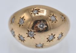 An 18ct Gold & Diamond Bombe Ring