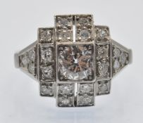 A French 1930s Art Deco Platinum & Diamond Geometric Cluster Ring