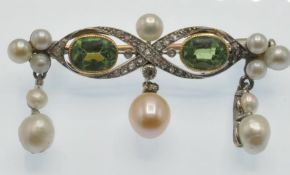 An Antique Gold Peridot Pearl & Diamond Brooch