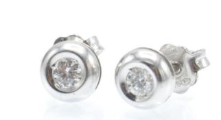 A Pair of Italian 18ct White Gold & Diamond Stud Earrings