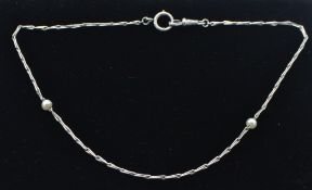 A French 18ct white gold and pearl necklace. Frenc