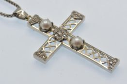 A French 18ct White Gold Diamond & Pearl Pendant Necklace.