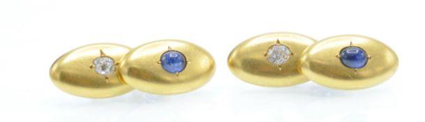 A Pair of Antique Gold Sapphire & Diamond Cufflinks