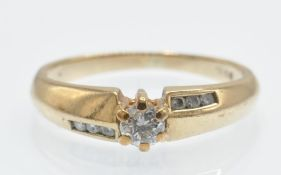 A Hallmarked 9ct Gold & Diamond Solitaire Ring