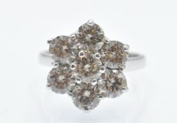 A Hallmarked 18ct White Gold & Diamond Cluster Ring