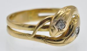 A French Antique 18ct Gold & Diamond Snake Ring