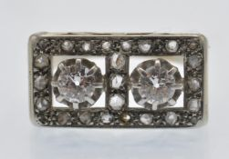 A French Art Deco Gold, Platinum & Diamond Plaque Ring