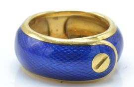 A French 18c gold and enamel ring by Van Cleef and