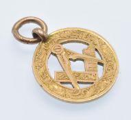 A 1920's Hallmarked 9ct gold Masonic Pendant