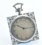 A 1920's Ansorena Madrid Platinum & Diamond Pendant Watch