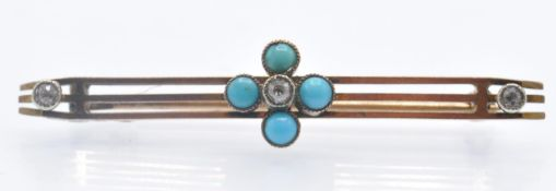 A Victorian 9ct Gold Diamond & Turquoise Brooch Pin