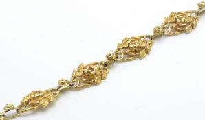 A French Gold Art Nouveau Seven Link Bracelet.