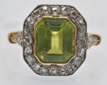 An Antique Peridot & Diamond Cluster Ring