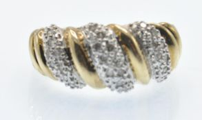 A Hallmarked 9ct Gold & Diamond Dome Ring
