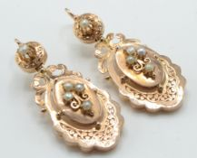 A pair of French 18ct Rose Gold & Pearl Drop Earring