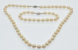 A 14ct Gold, Cultured Pearl, Necklace & Bracelet Suite