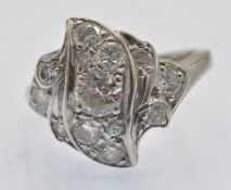 A 14ct Gold & Diamond Cluster Ring