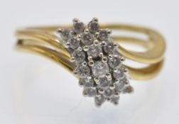 A Hallmarked 18ct Gold & Diamond Cluster Ring
