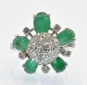 A Hallmarked 14ct White Gold Emerald & Diamond Dress Ring