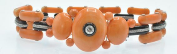 An Art Deco Coral Onyx & Diamond Bracelet