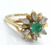 A 14ct Gold Emerald & Diamond Cluster Ring